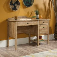 Teknik Office Spanish Style Desk in an Antiqua Chestnut Finish with three easy glide drawers and contrasting black metal diamond drawer handles