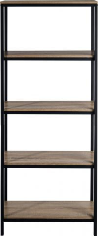 Teknik Office Industrial Style 4 Shelf Bookcase Durable Black Metal Frame Charter Oak Effect Generously Sized Shelves