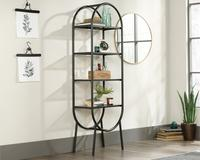 Teknik Office Boulevard Cafe Oval Bookcase / Display Unit with safety tempered glass shelves and  durable powder coated metal frame