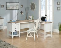 Teknik Office Shaker Style L Shaped Desk Soft White and Oak Accent Desktop