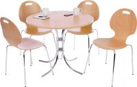 Teknik Office Cafe Bistro Set With Round Beech Effect Bistro Table And 4 Cafe Chairs