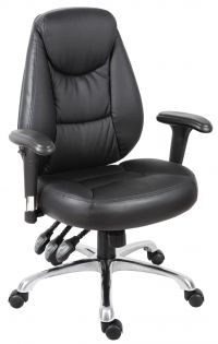 Teknik Office Portland Black Operator Faux Leather Chair Removable Height Adjustable Armrests And Chrome Base