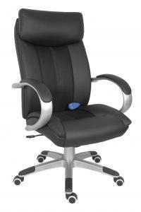 Teknik Office Shiatsu Massage Black Faux Leather Executive Chair Matching Capped Five Star Base