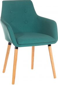 Teknik Office 4 Legged Reception Chair (Pack of 2) Jade Coloured Soft Brushed Fabric And Oak Coloured Legs