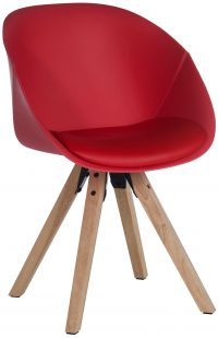 Teknik Office Red Pyramid Padded Tub Chair Soft Polyurethane and PU Fabric Wooden Oak Legs Black Red Or White Packs Of 2