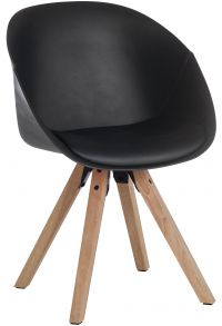 Teknik Office Black Pyramid Padded Tub Chair Soft Polyurethane and PU Fabric Wooden Oak Legs Black Red Or White Packs Of 2
