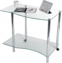 Teknik Office Ice Light Tempered Glass Shaped Workstation With Solid Bottom Shelf