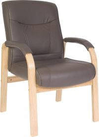 Teknik Office Richmond Brown Bonded Leather 4 Legged Visitor Chair Matching Removable Padded Armrests
