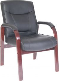 Teknik Office Kingston Black Visitor Bonded Leather Chair With Mahogany Effect Arm Frame