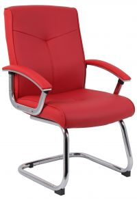 Teknik Office Hoxton Red Leather Faced Cantilever Chair Matching Padded Armrests And Chrome Frame