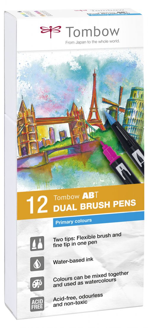 Tombow ABT Dual Brush Pen 2 Tips Primary Assorted Colours (Pack 12)