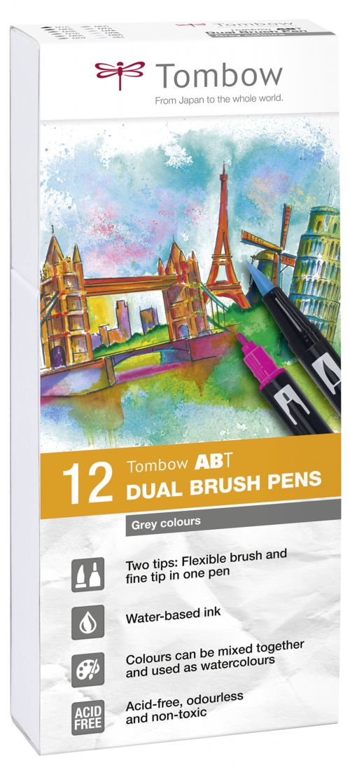 Tombow ABT Dual Brush Pen 2 Tips Grey Colours (Pack 12)