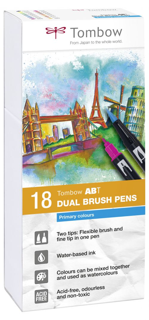 Tombow ABT Dual Brush Pen 2 Tips Primary Assorted Colours (Pack 18)