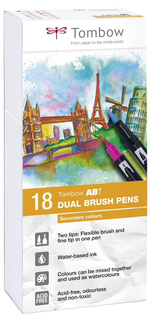 Tombow ABT Dual Brush Pen 2 Tips Secondary Assorted Colours (Pack 18)