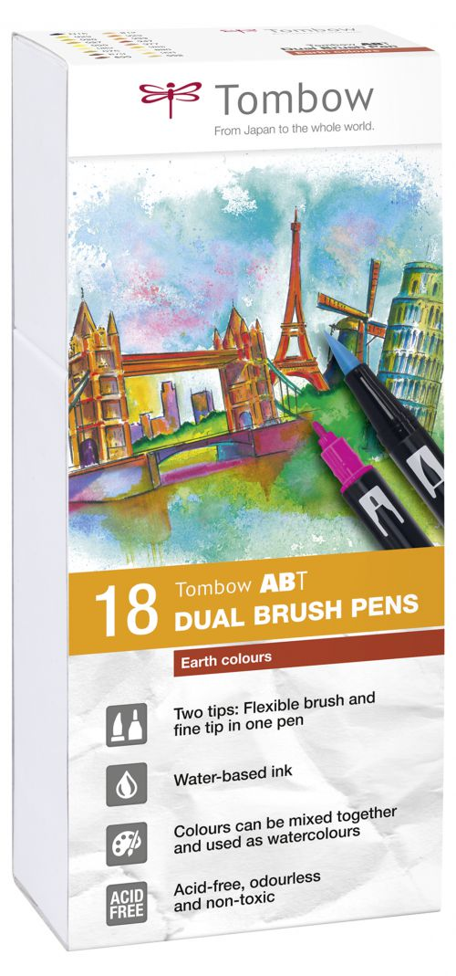 Tombow ABT Dual Brush Pen 2 Tips Earth Assorted Colours (Pack 18)