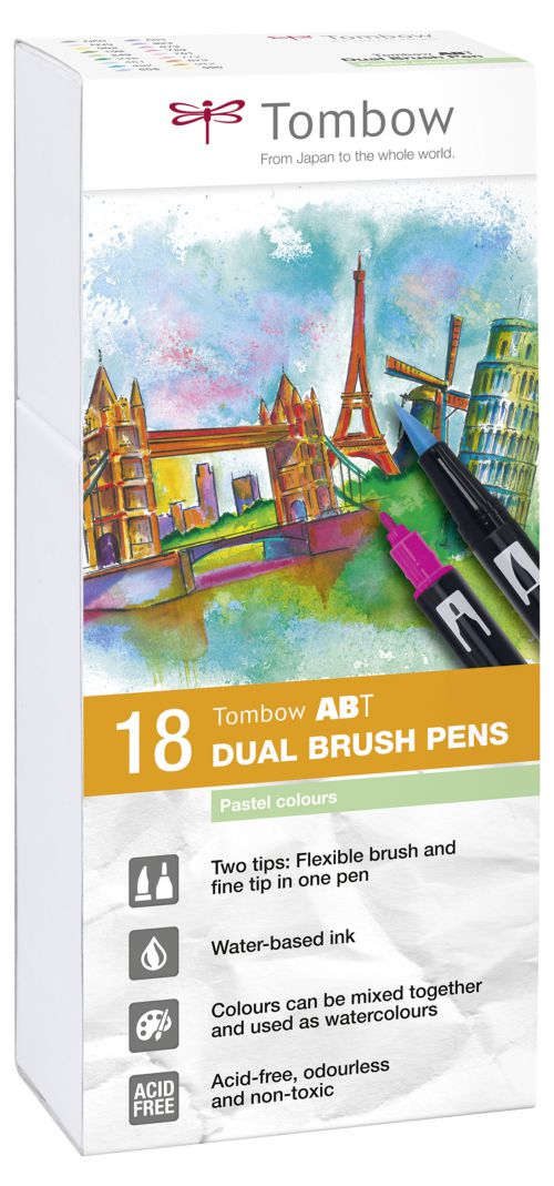 Tombow ABT Dual Brush Pen 2 Tips Pastel Assorted Colours (Pack 18)