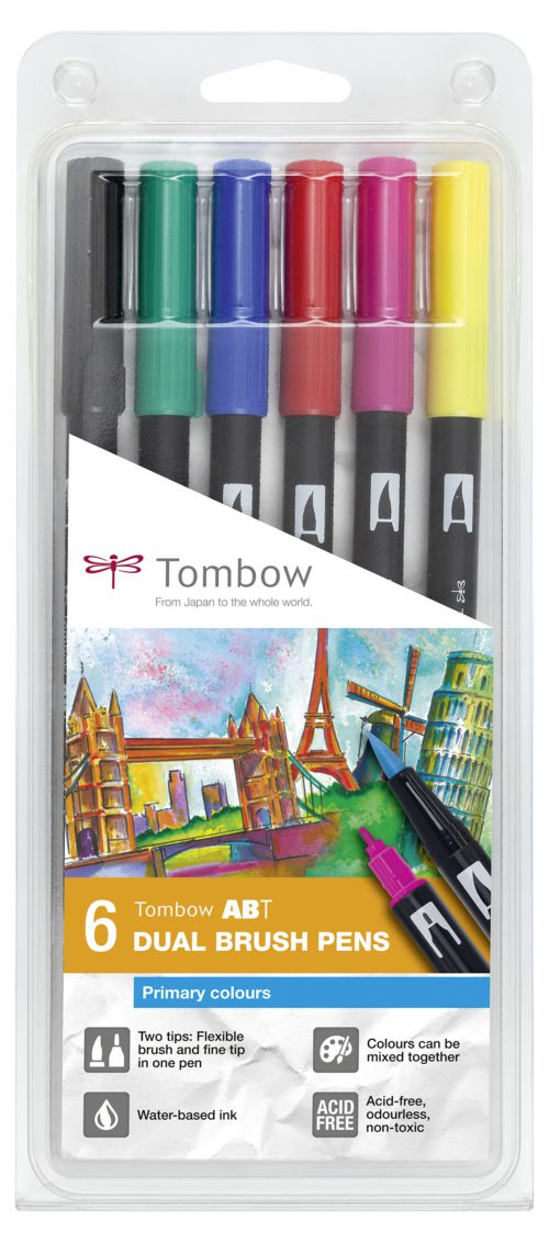Tombow ABT Dual Brush Pen 2 Tips Primary Assorted Colours (Pack 6)