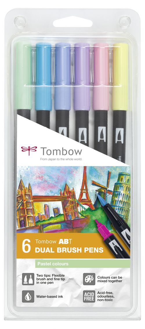 Tombow ABT Dual Brush Pen 2 Tips Pastel Assorted Colours (Pack 6)