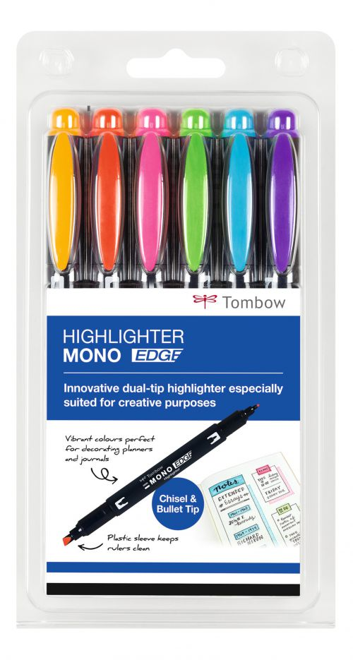 Tombow Highlighter MONO Edge Assorted PK6