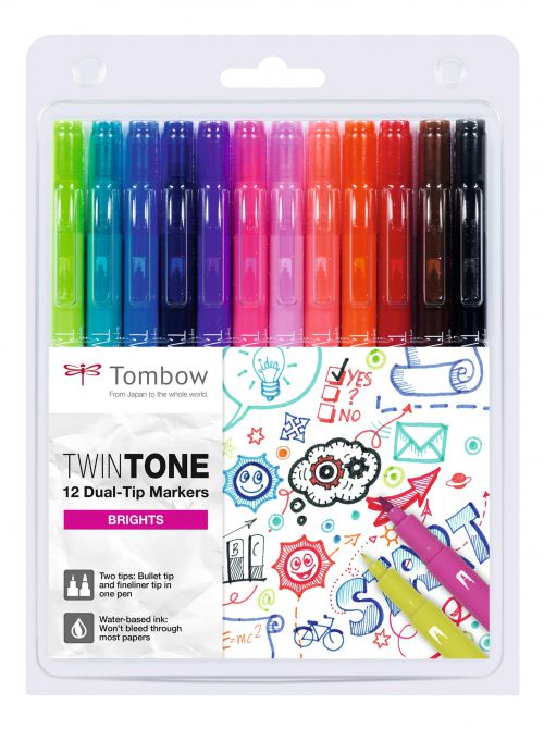Tombow TwinTone Dual Tip Marker 0.8mm and 0.3mm Line Bright Assorted Colours (Pack 12)