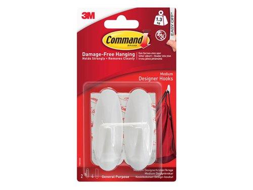 Medium White Designer Hooks (Pack 2)