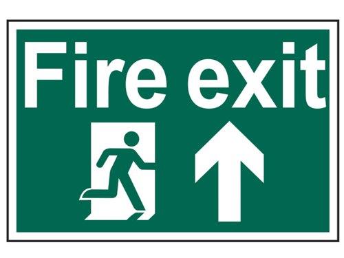 Fire Exit Running Man Arrow Up - PVC 300 x 200mm