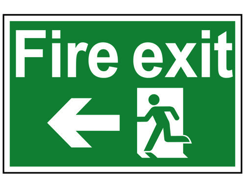 Fire Exit Running Man Arrow Left - PVC 300 x 200mm
