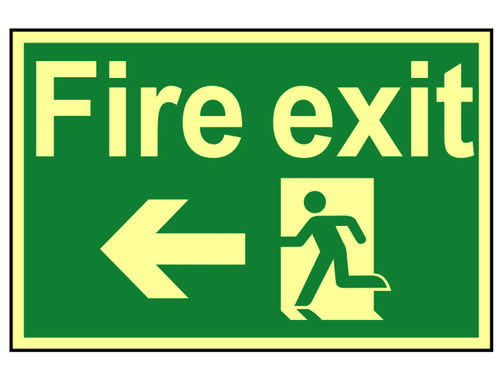 Fire Exit Running Man Arrow Left - Photoluminescent 300 x 200mm