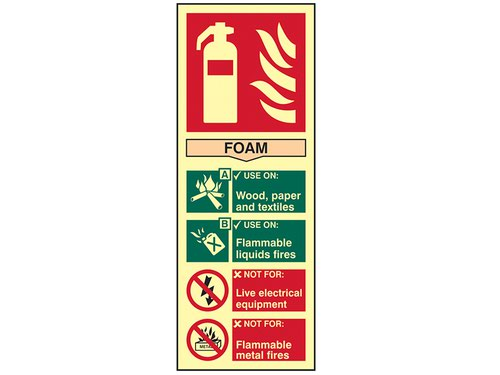 Fire Extinguisher Composite Foam - Photoluminescent 75 x 200mm