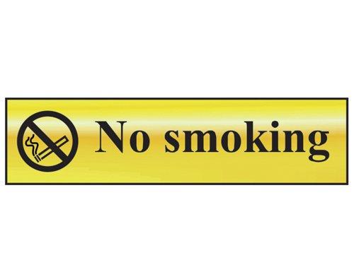 No Smoking - Polished Brass Effect 200 x 50mm