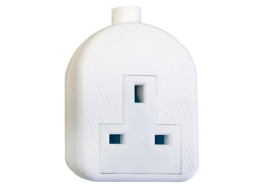 White Trailing Extension Socket 13A 1-Gang