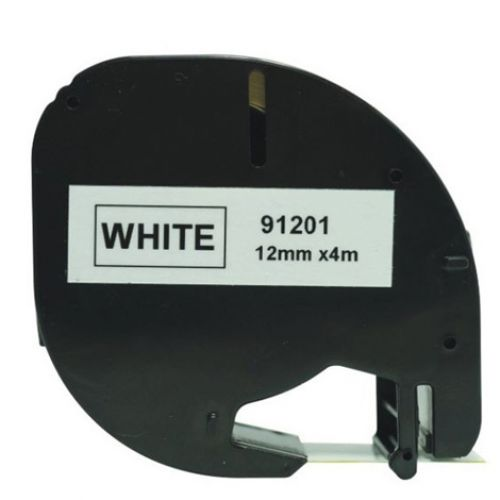Compatible Dymo S0721610 91201 Black on White 12mm x 4m Pack of 5