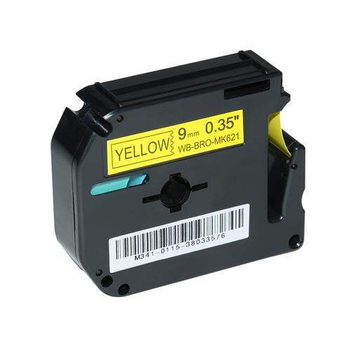 Compatible Brother MK-621BZ Black on Yellow Label Tape 9mm/8m *7-10 day lead*