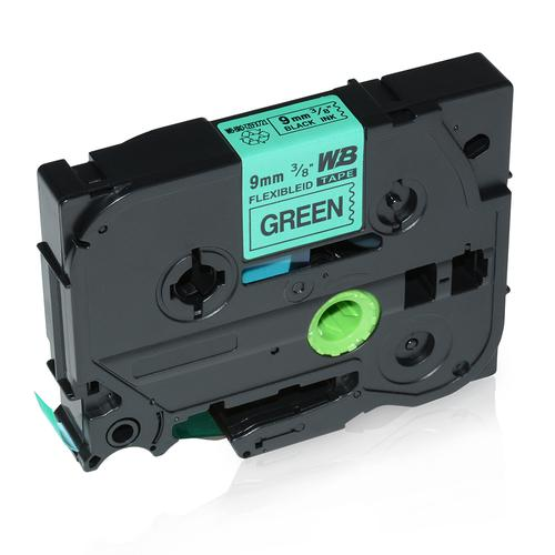 Compatible Brother TZE-FX721 Black on Green Label Tape 9mm/8m *7-10 Day Lead*