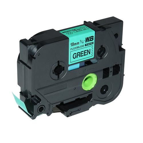 Compatible Brother TZE-FX741 Black on Green Label Tape 18mm/8m *7-10 Day Lead*
