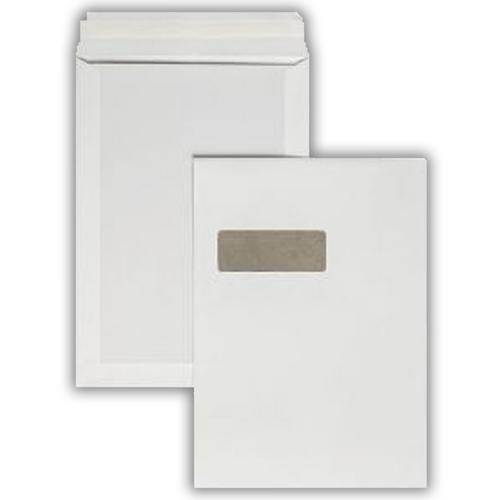 1K01 324x229mm 100gsm White Window Peel & Seal Board Back Pocket 125 Pack