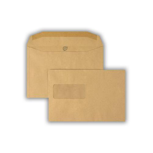 1W53 - 162x240mm 80gsm Manilla Gummed Wallet Window 45 x 100mm 500 Pack
