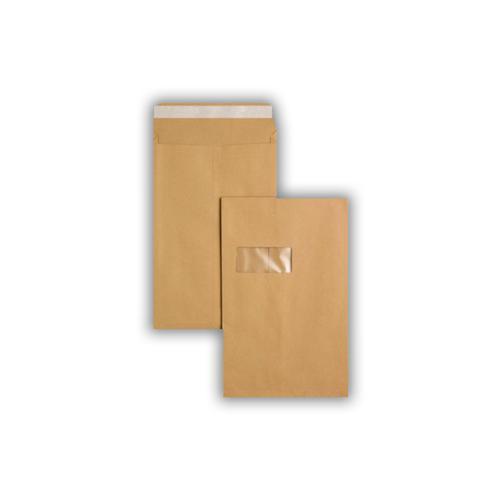 324x229x25mm Manilla 135gsm Window Peel & Seal Gusset Pocket 125 Pack