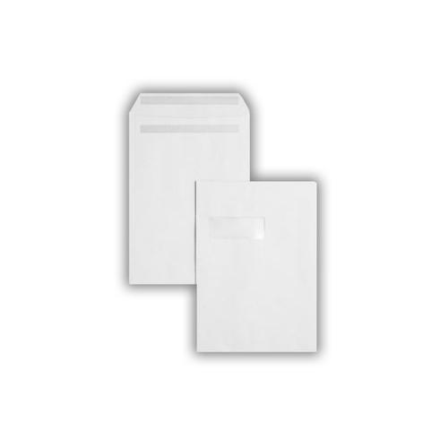 324x229x25mm 140gsm White Window Peel & Seal Gusset Pocket 250 Pack