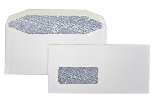 DLX 114x235mm Autofast White 90gsm Window Opaqued Gummed Wallet 500 Pack