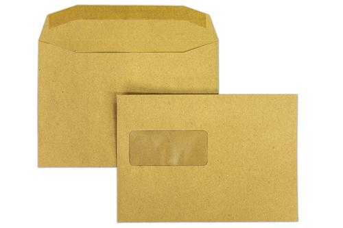 1W64 - 162x229mm 80gsm Manilla Window Gummed Mailing Wallet 500 Pack