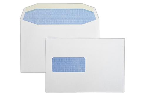 1W56ISLG - 162x235mm 90gsm White Window Gummed Wallet with Inside Seams Laser Guaranteed 500 Pack