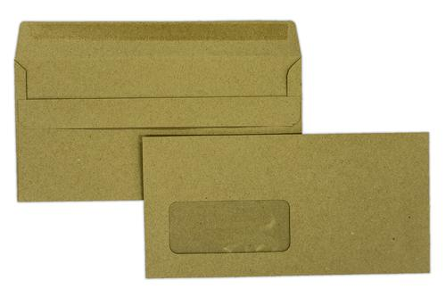 1A98I - 110x220mm 80gsm Manilla Window Self Seal Wallet 500 Pack