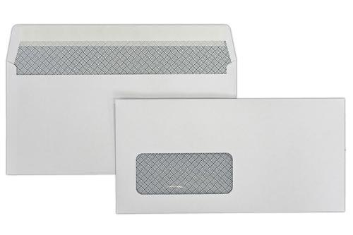 DL 110x220mm Kestrel White 100gsm Window Opaqued Peel & Seal Wallet 500 Pack