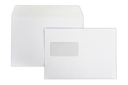 1N43 - 162x229mm 120gsm White Peel & Seal Window Wallet Laser Guaranteed 500 Pack