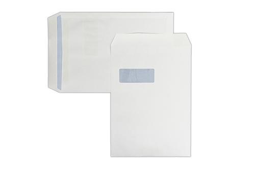 1D41 - 324x229mm 100gsm Kestrel White Window Self Seal Pocket Laser Guaranteed 250 Pack