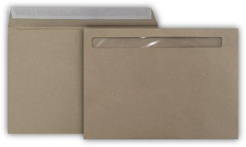 162x215mm Payslip Window Envelope 90gsm Recycled Manilla Peal & Seal 500 Pack