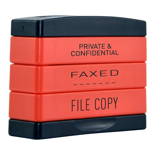Trodat 3-in-1 Stamp Stack Secretary PRIVATE & CONFIDENTIAL / FAXED / FILE COPY 11162