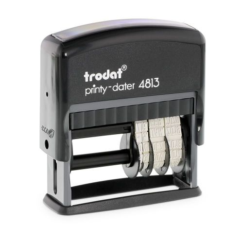 Trodat Printy 4813 Self Inking Custom Text And Date Stamp. Imprint Area 25 x 7 mm - 2 lines maximum - 1 above and 1 below date