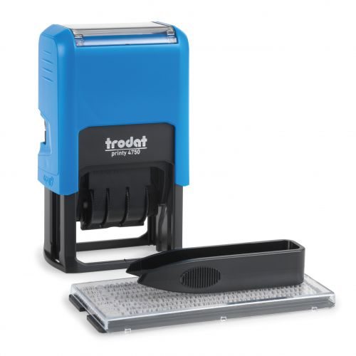 Trodat Printy 4750 Typo Dater Stamp with D-I-Y Text/Date Self-Inking 4mm Line 40x23mm Red/Blue Ref 140030